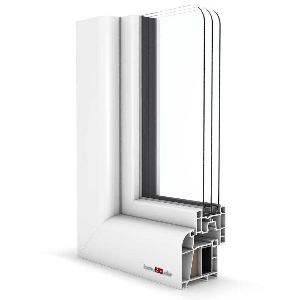 Wohnraumfenster 2-flg. Allegro Max Weiß 1150x1000 mm DIN Dreh-Stulp (beweglicher Pfosten)/Dreh-Kipp-37846