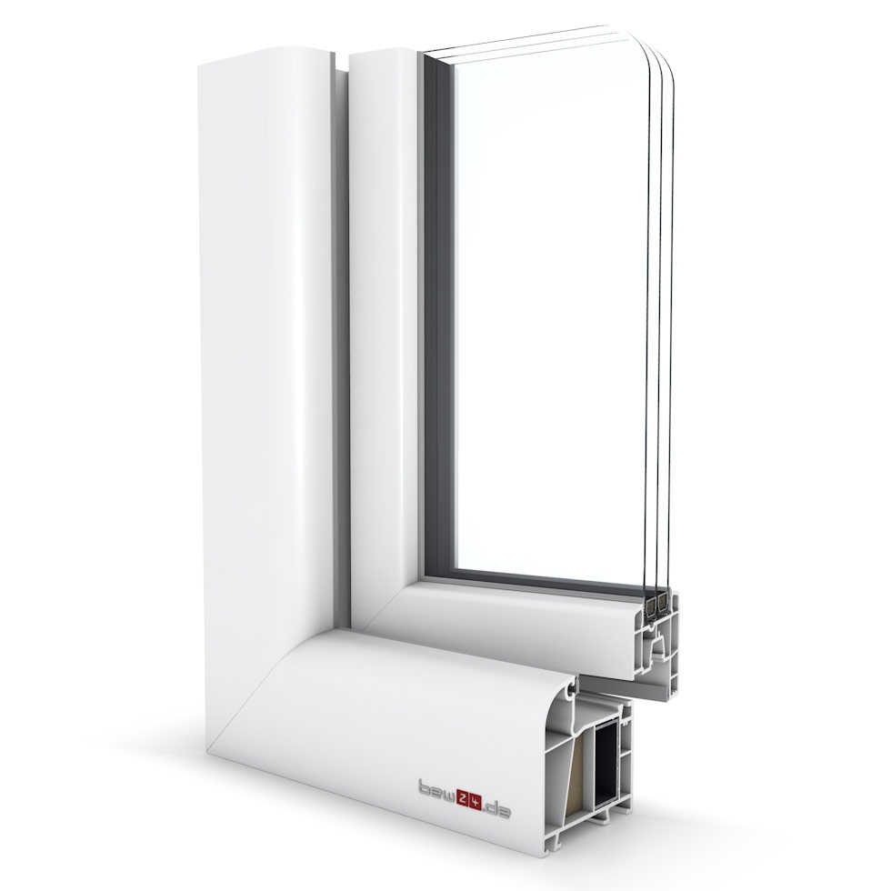 Wohnraumfenster 2-flg. Allegro Max Weiß 1600x1450 mm DIN Dreh-Kipp/Dreh-Kipp mit festem Pfosten-42148