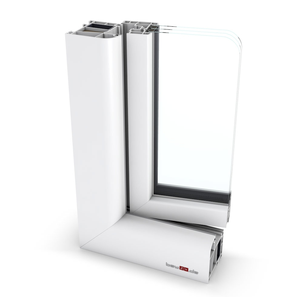Wohnraumfenster 2-flg. Allegro Max Weiß 1600x1450 mm DIN Dreh-Kipp/Dreh-Kipp mit festem Pfosten-42149